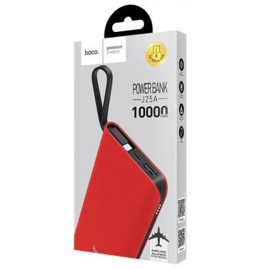 Внешний аккумулятор Power Bank красный с кабелем microUSB J25A HOCO