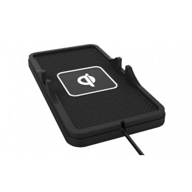 Автодержатель-коврик черный с беспроводной зарядкой Egotouch ZX-4