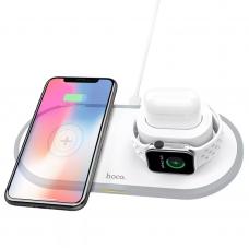 Зарядка беспроводная белая для iPhone, Apple Watch, Airpods Hoco CW21