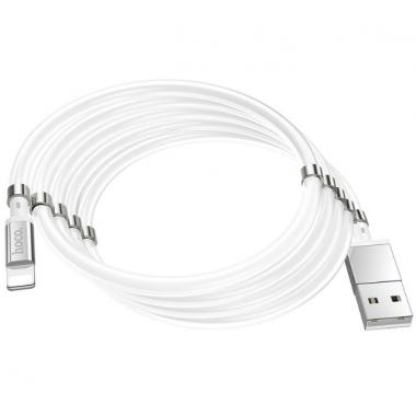 USB кабель с магнитной намоткой lightning белый 1 м Hoco U91