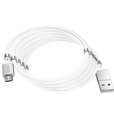 USB кабель с магнитной намоткой microUSB белый 1 м Hoco U91