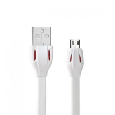 USB дата-кабель плоский microUSB белый 1м Remax LASER series RC-035m