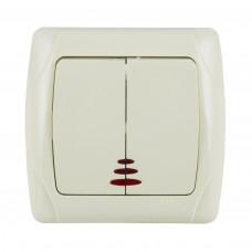 Выключатель двухклавишный белый с подсветкой VIKO 90561050