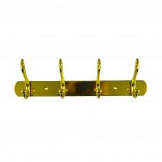 Вешалка настенная металлическая пластина 4 крючка золото ABV Т8917-4 РВ