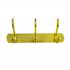 Вешалка настенная металлическая пластина 3 крючка золото ABV Т8917-3 РВ