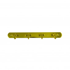 Вешалка металлическая пластина 4 крючка золото Стрекоза