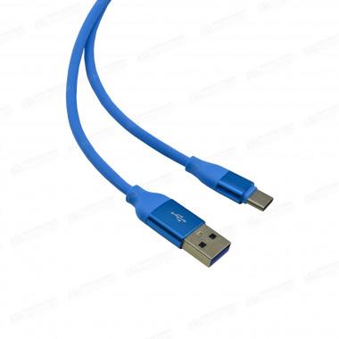 USB кабель голубой Type-C 1 м каучуковая оплетка MRM-Power R12
