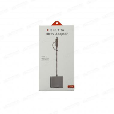 Адаптер-переходник 3-in-1 0.5 м серый Apple 8 pin/TYPE-C/microUSB - HDMI HDTV Cable