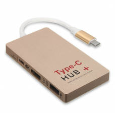 Переходник HUB Type-C - HDMI/USB 3.0/Card reader SDHC/USB-C GOLD Multy Function HUB+ Charging YC-201