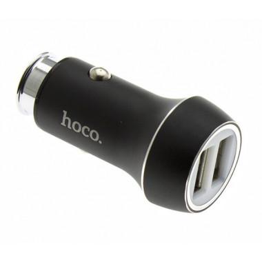 Адаптер в прикуриватель черный 2хUSB 2.4А Hoco Z7