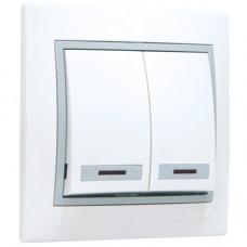 Выключатель двухклавишный белый серая рамка с подсветкой Lezard 701-0215-112