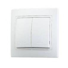 Выключатель двухклавишный белый Lezard 701-0202-101