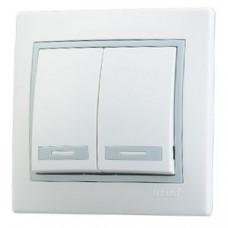 Выключатель двухклавишный белый серая рамка Lezard 701-0215-101