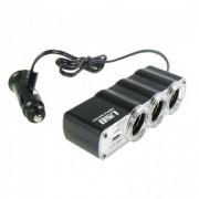 Адаптер автомобильный 3 гнезда 12 В + USB IN-CAR WF-0120