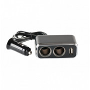 Разветвитель автоприкуривателя 2 гнезда USB 1 A 120 W IN-CAR 1522