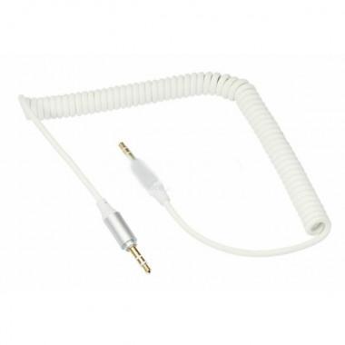 Аудио кабель AUX белый спираль REXANT 18-4014