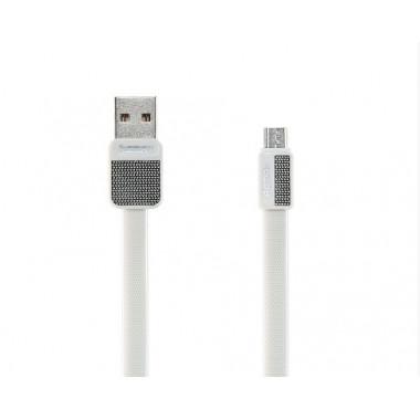 USB дата-кабель плоский microUSB белый 1м Remax Platinum RC-044m