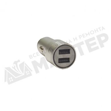 Адаптер USB серебро с двумя выходами в прикуриватель металл 5v=2.1A/1A Torino ADC-88