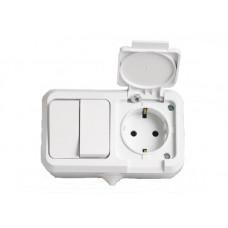 Блок выключатель 2 кл + розетка с крышкой с/з makel 18351