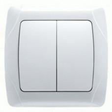 Выключатель двухклавишный белый VIKO 90561002