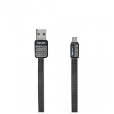 USB дата-кабель плоский microUSB черный 1 м Remax Platinum RC-044m