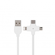 USB кабель 3 в 1 белый для microUSB/iPhone 8 pin/Type-C Hoco X10