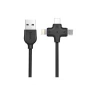 USB кабель 3 в 1 черный для microUSB/iPhone 8 pin/Type-C Hoco X10