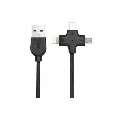 USB кабель 3 в 1 черный для microUSB/iPhone 8 pin/Type-C Hoco X10