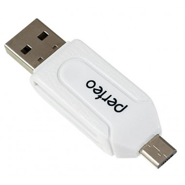 Адаптер Card Reader SD/MMC+Micro SD+MS+M2 + OTG белый Perfeo PF-VI-O004 White