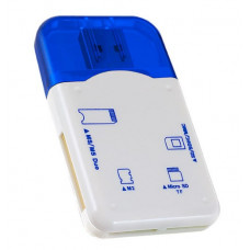 Адаптер Card Reader SD/MMC+Micro SD+MS+M2 синий Perfeo PF-VI-R010 Blue