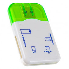 Адаптер Card Reader SD/MMC+Micro SD+MS+M2 зеленый Perfeo PF-VI-R010 Green