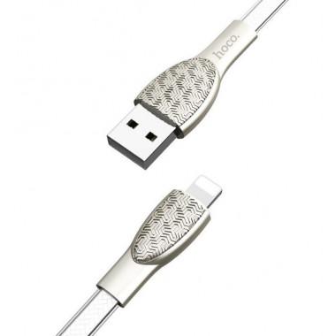 USB кабель серебристый 1.2 м lightning Hoco U52