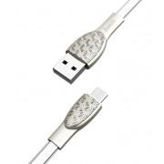 USB кабель серебристый 1.2 м microUSB Hoco U52