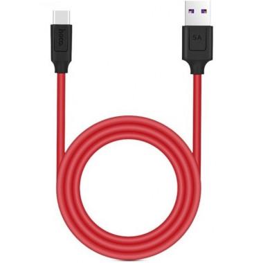 USB кабель красный 5 A 1.2 м Type-C HOCO X11