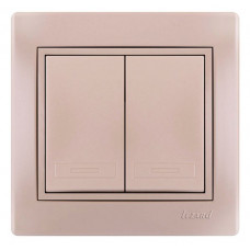 Выключатель двойной жемчужно-белый Lezard Mira 701-3030-101