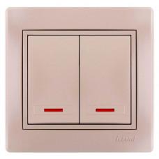 Выключатель двойной с подсветкой жемчужно-белый Lezard Mira 701-3030-112
