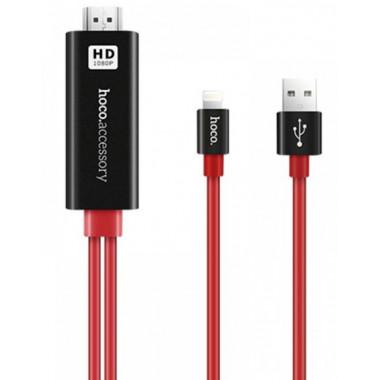 Адаптер красный 2 м iPhone - HDMI HOCO UA4