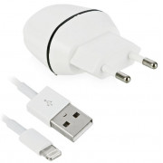 Сетевое зарядное устройство (СЗУ) 2.1 А 1 USB + кабель 8pin для iPhone 5/5S/5C/6/6S/SE/7 белое Smartbuy NOVA MKIII SBP-1504-8