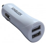 Автозарядка белая 5V 2.1A 2xUSB Kingleen Smart Car Charger C902