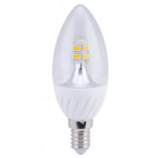 Лампа LED candle 4.0 W 220 V E14 4000 K 320 градусов прозрачная свеча искристая точка 98х37 мм Ecola C4QV40ELC