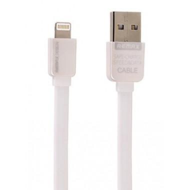 USB кабель плоский для iPhone 5/6 белый 1 м Remax Data Cabel Safe&Speed