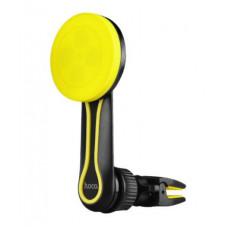 Автодержатель магнитный на воздуховод черно-желтый Hoco Long CA17