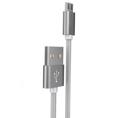 USB кабель microUSB серый 1 м Hoco Knitted Charging X2