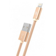USB кабель iPhone 8 pin золотой 1.2 м Hoco Knitted Charging X2