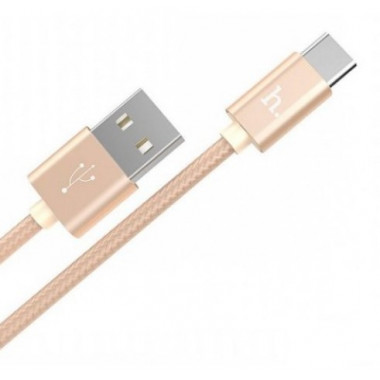 USB кабель microUSB золотой 1 м Hoco Knitted Charging X2