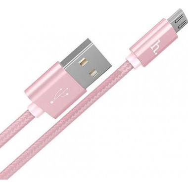 USB кабель microUSB розовый 1 м Hoco Knitted Charging X2