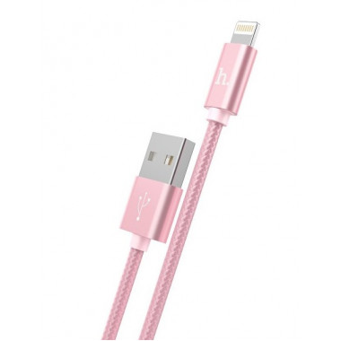 USB кабель iPhone 8 pin розовый 1 м Hoco Knitted Charging X2