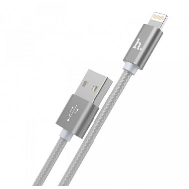 USB кабель iPhone 8 pin серебристый 1.2 м Hoco Knitted Charging Tarnish X2