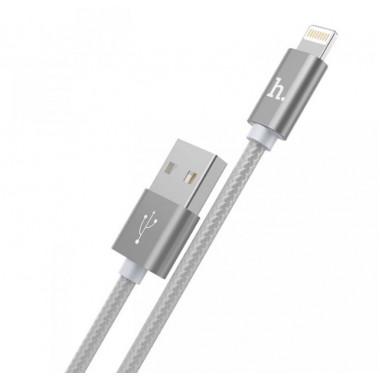 USB кабель iPhone 8 pin серебристый 1.2 м Hoco Knitted Charging Tarnish X2