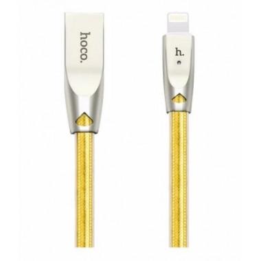 USB кабель золотой 2 м microUSB Hoco ZINC ALLOY U9